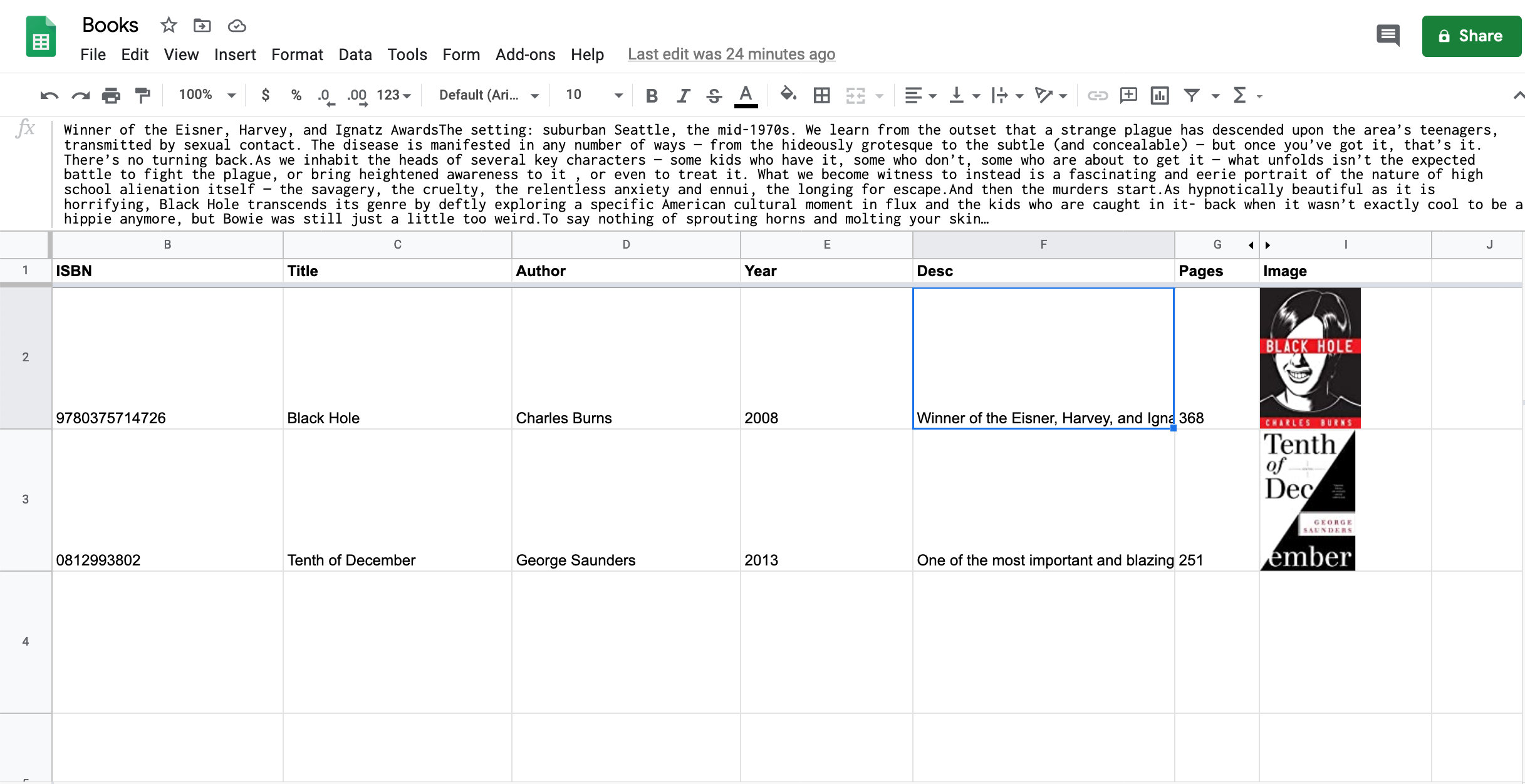 google sheet with goodreads data