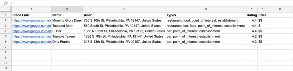 Using the Google Places API in Google Sheets · Matt's